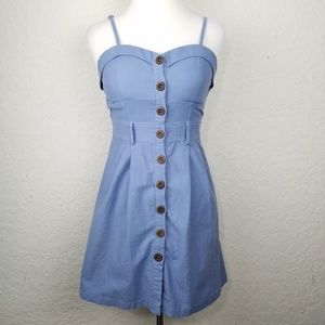 Poetry girl dress size L blue buttons cotton